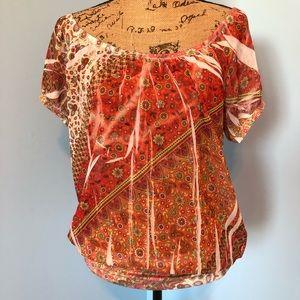 Women's Semi-Sheer Printed Top, Orange